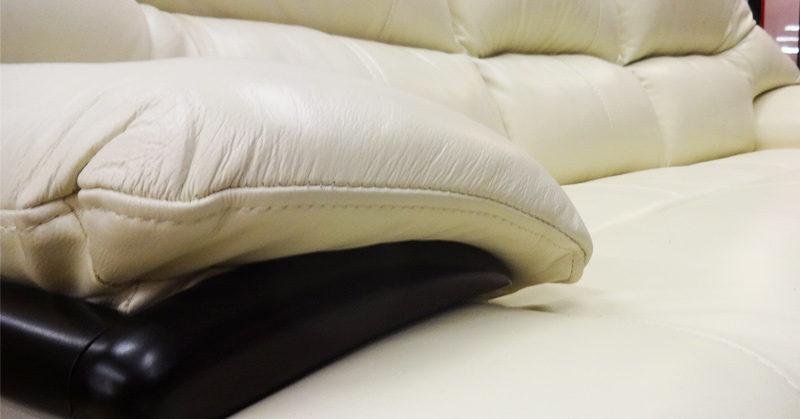 本革ソファの肘部