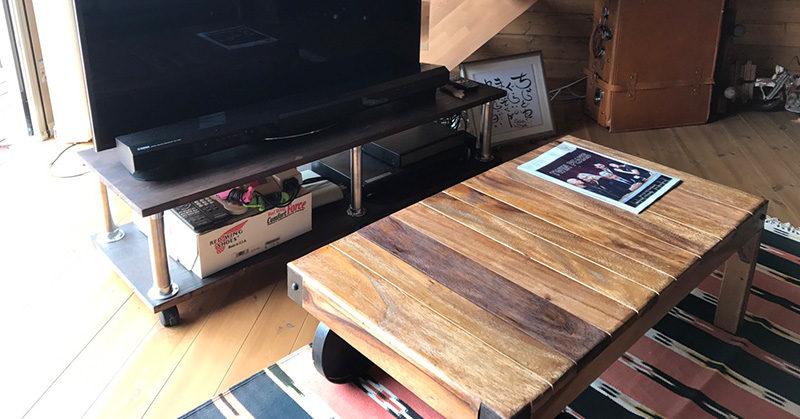 DIYテレビボードとトロリーテーブル