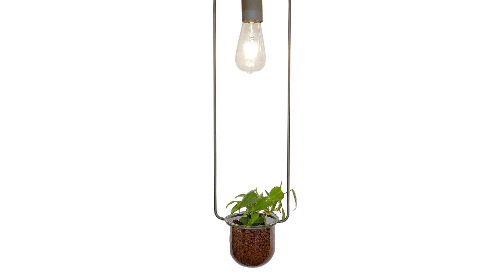 照明とハイドロカルチャーが一緒になった吊り下げ用のプランターポット