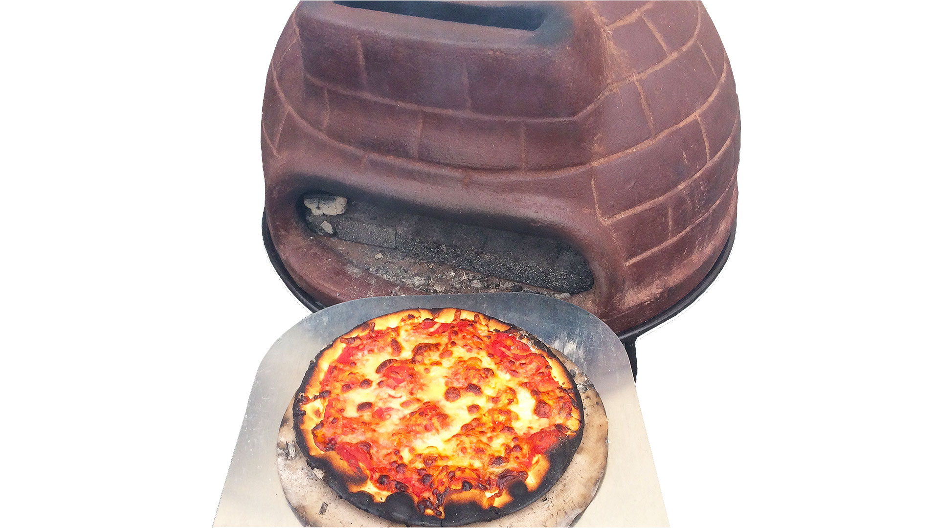 メキシコ製ピザ窯チムニーmch060のピザ焼き