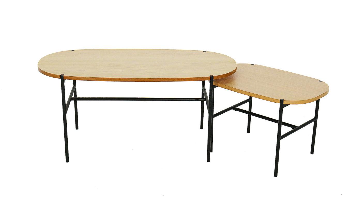 北欧デザインのセンターテーブル、カーラの100㎝と60㎝の組み合わせの上からの画像