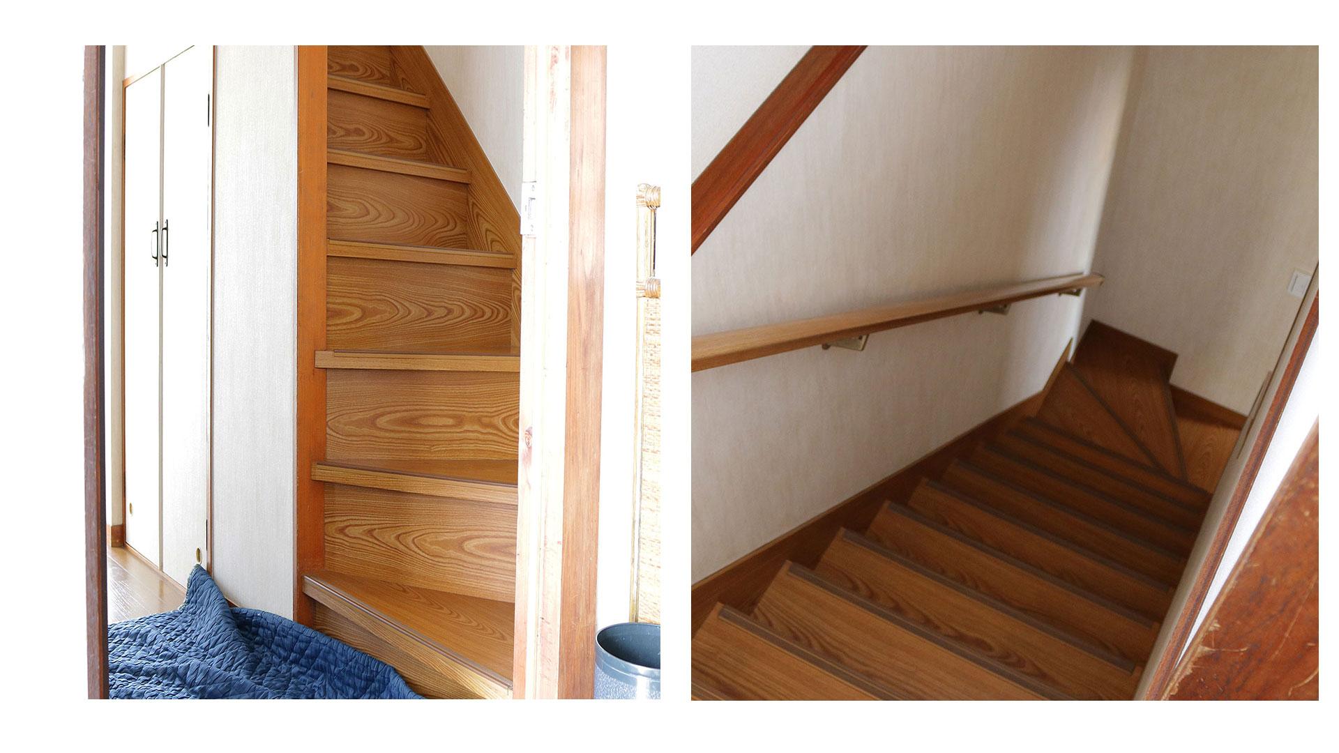 ソファを2階へ階段を使って搬入