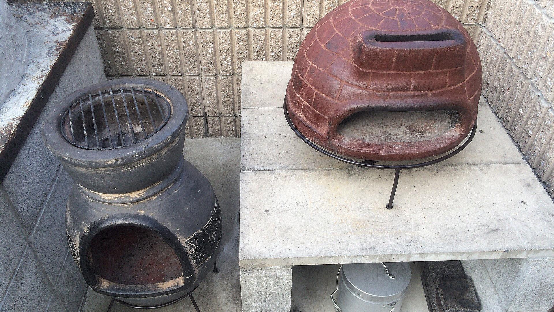 ピザ窯チムニーと暖炉型チムニー