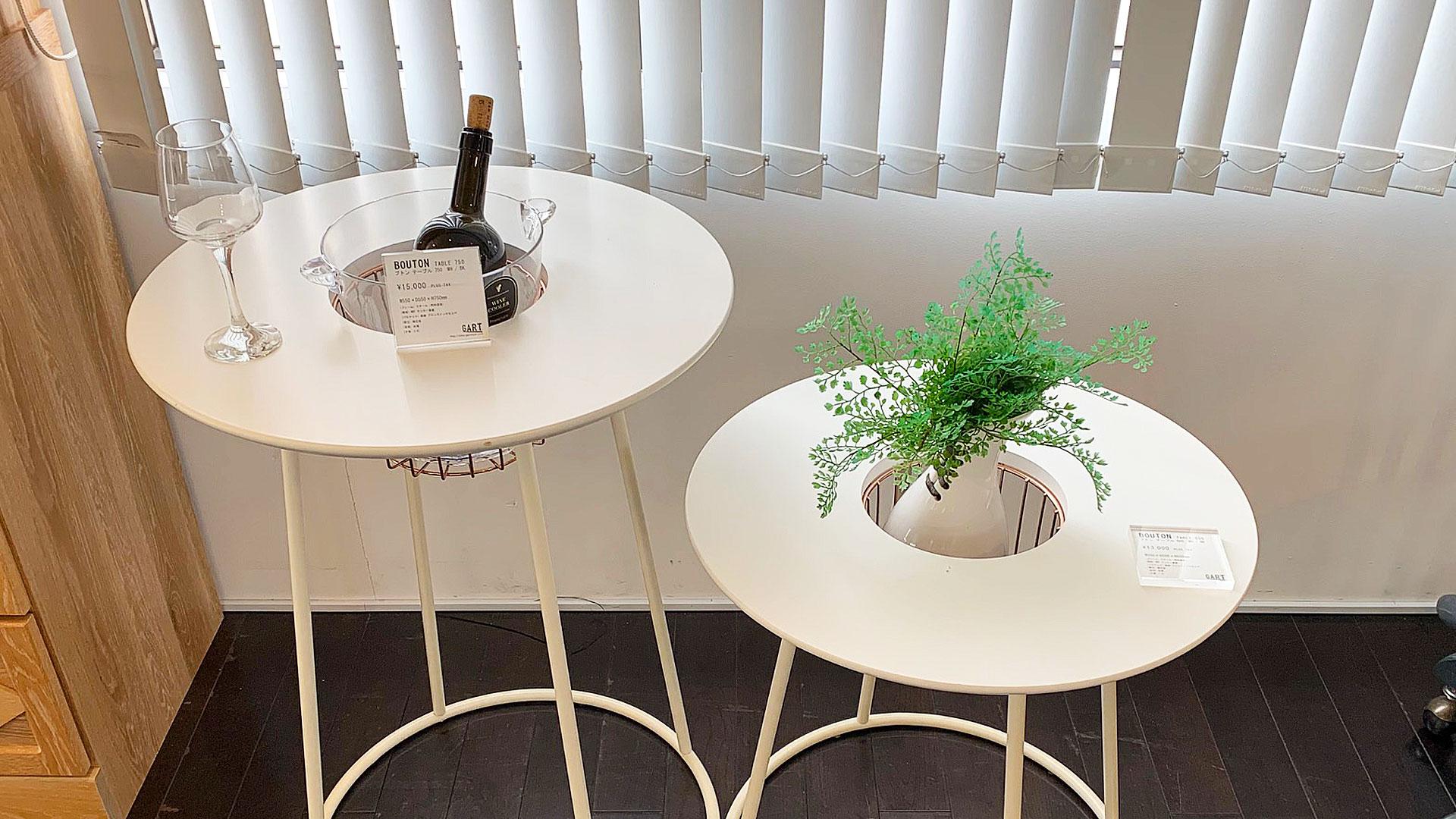 プランターサイドテーブルのメーカーショールの展示方法