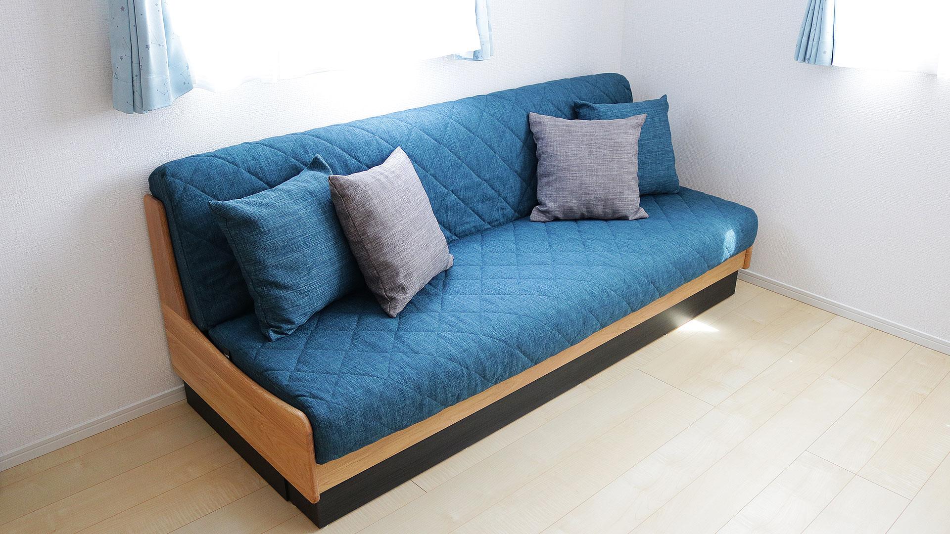 横幅200cmのモーブルのごろ寝ソファードロシーブルー色