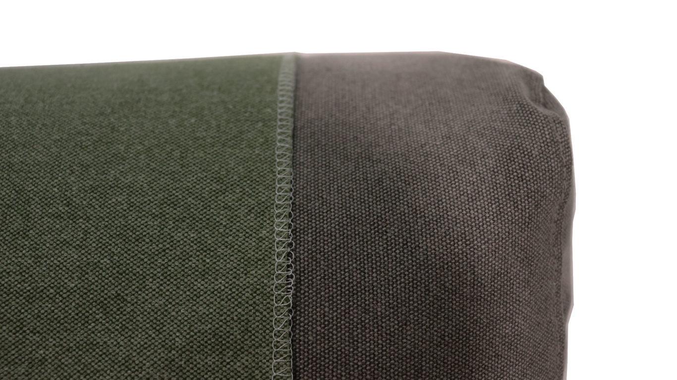 イエノワの横幅194cmの三人掛けソファ、ブラックパールのカーキ色とグレー色の生地の比較画像