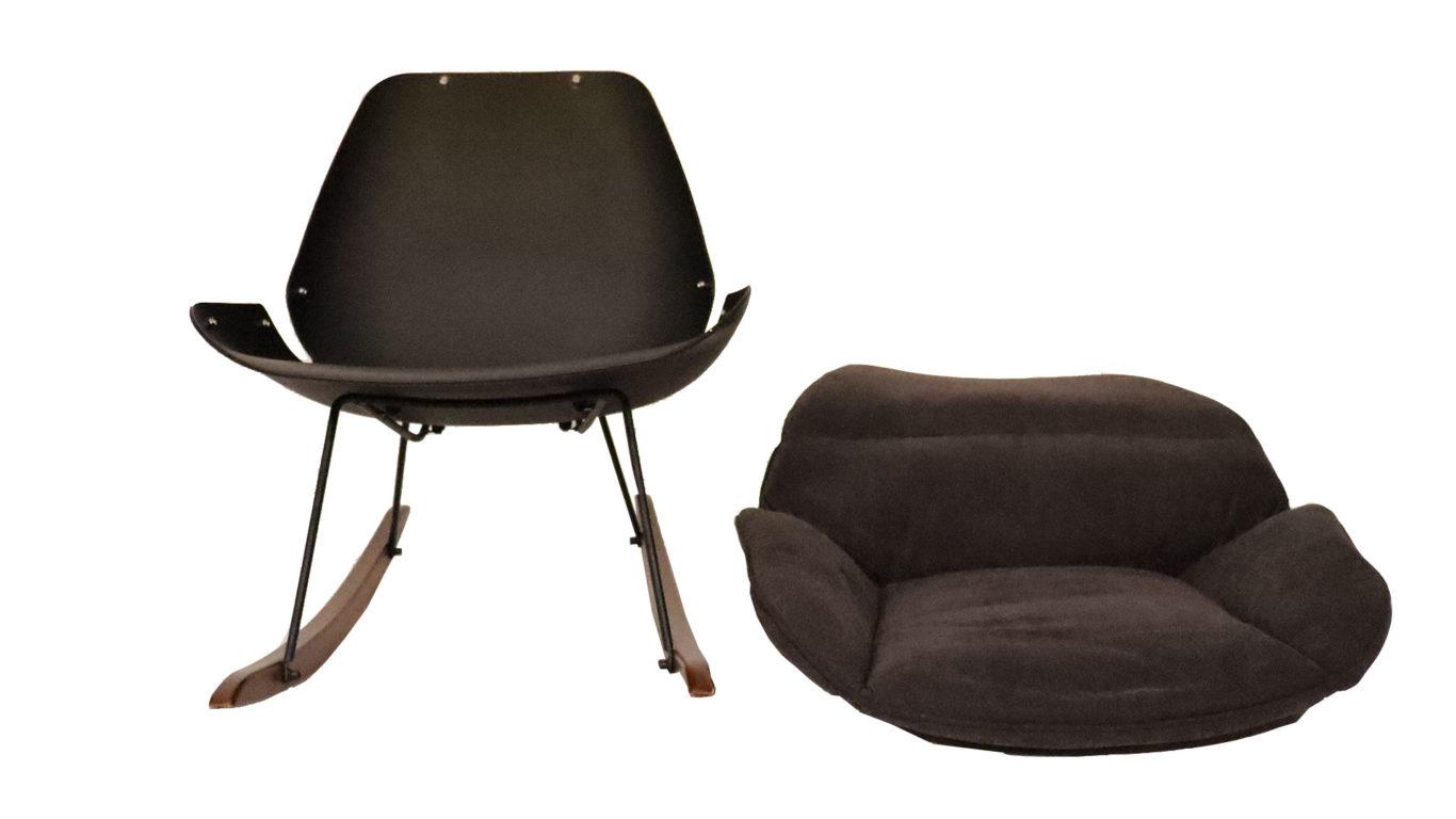黒色のおしゃれな北欧デザインのロッキングチェアーの本体とクッションの画像