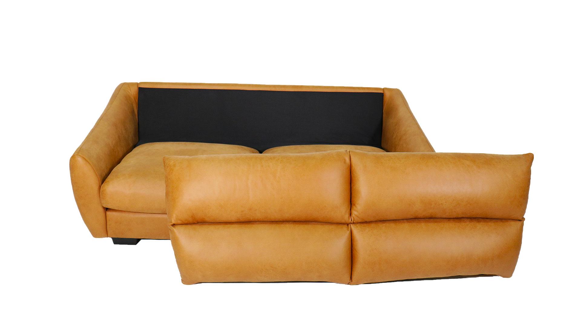ふんわりハイバックのask-inのソファ「ルーク」の背もたれを外して正面から撮影した画像