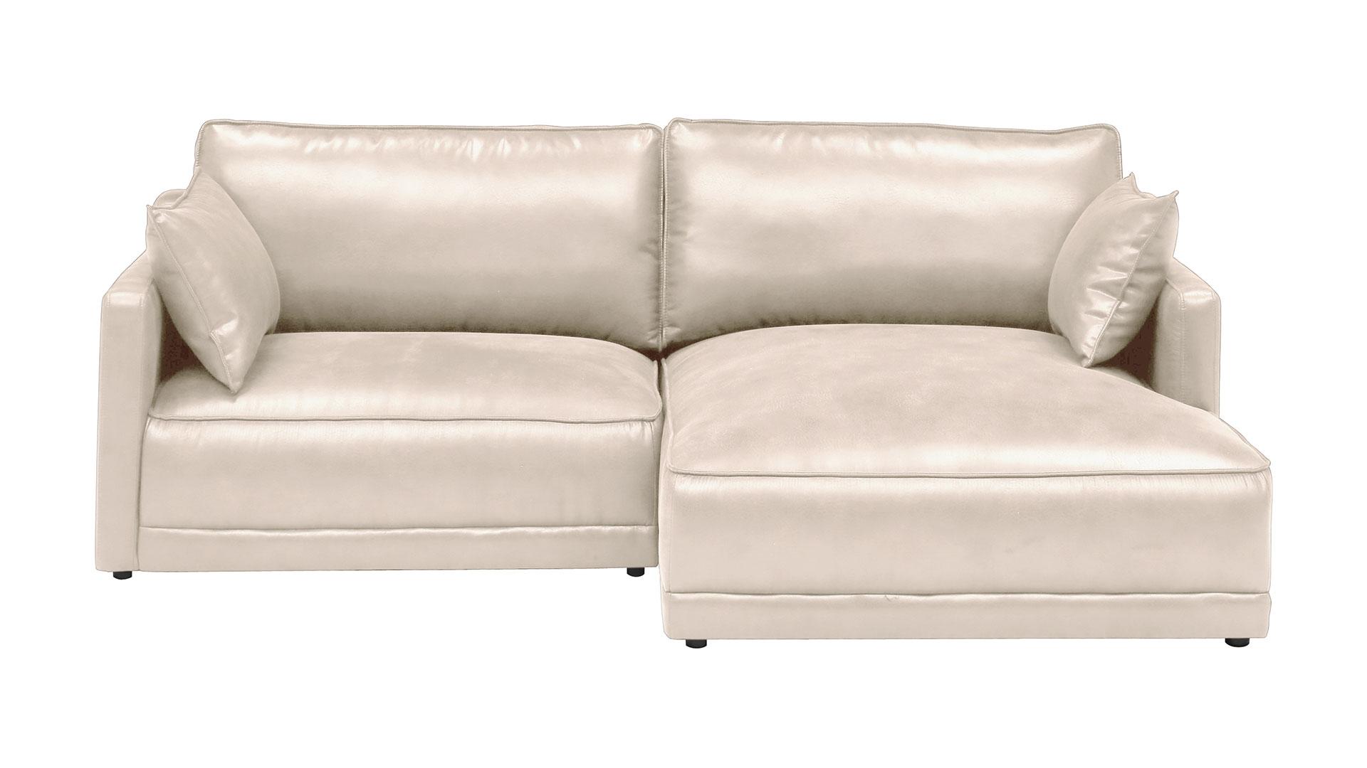 リビンズのレザーテックスを使用した横幅230㎝のL字型のソファのアイボリー色の画像