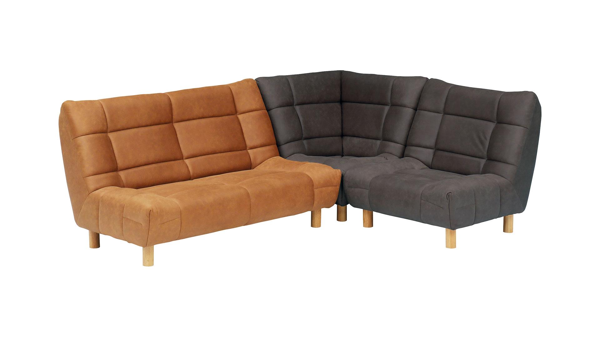 リビンズのソファ「チャオ」のファブリックレザーのダークグレーとキャメルの色の画像
