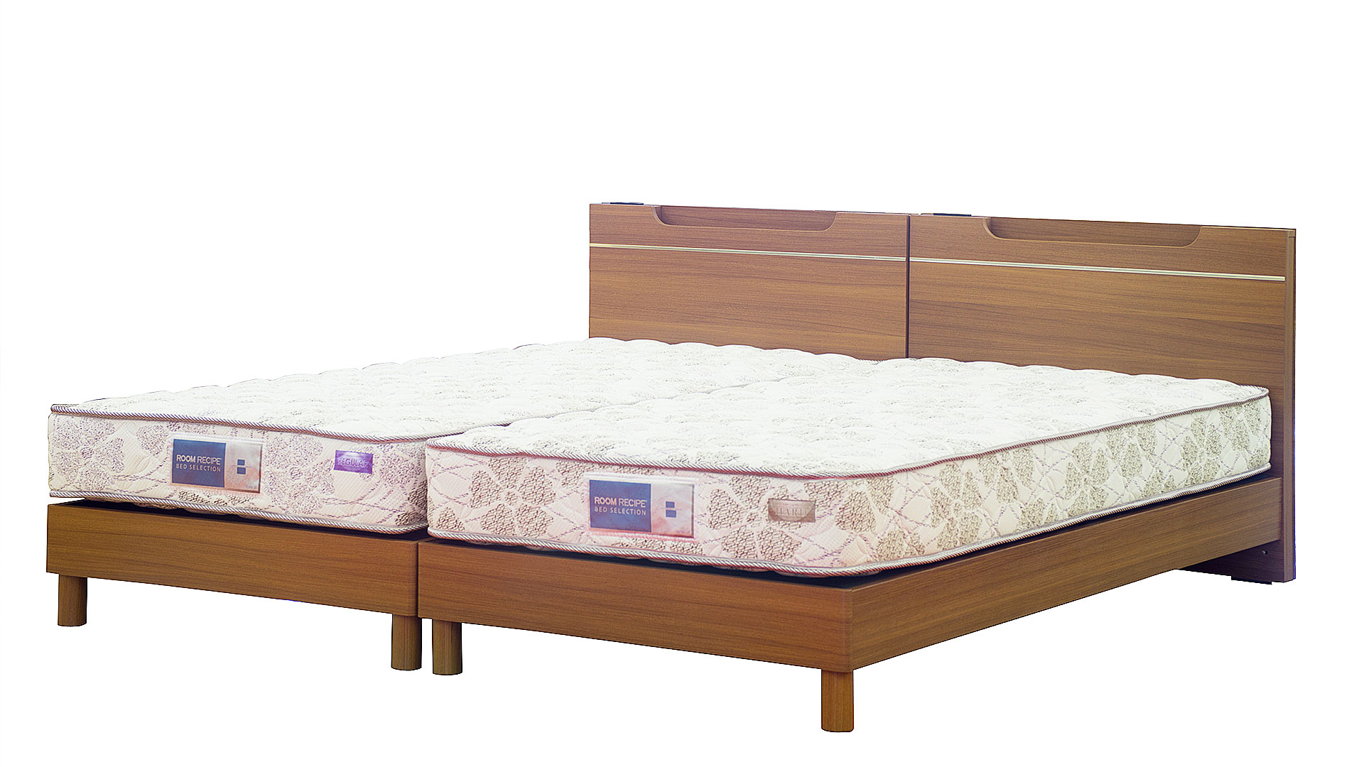 リビンズのベッドフレーム「グッデイ」の並べてツインベッドにした画像
