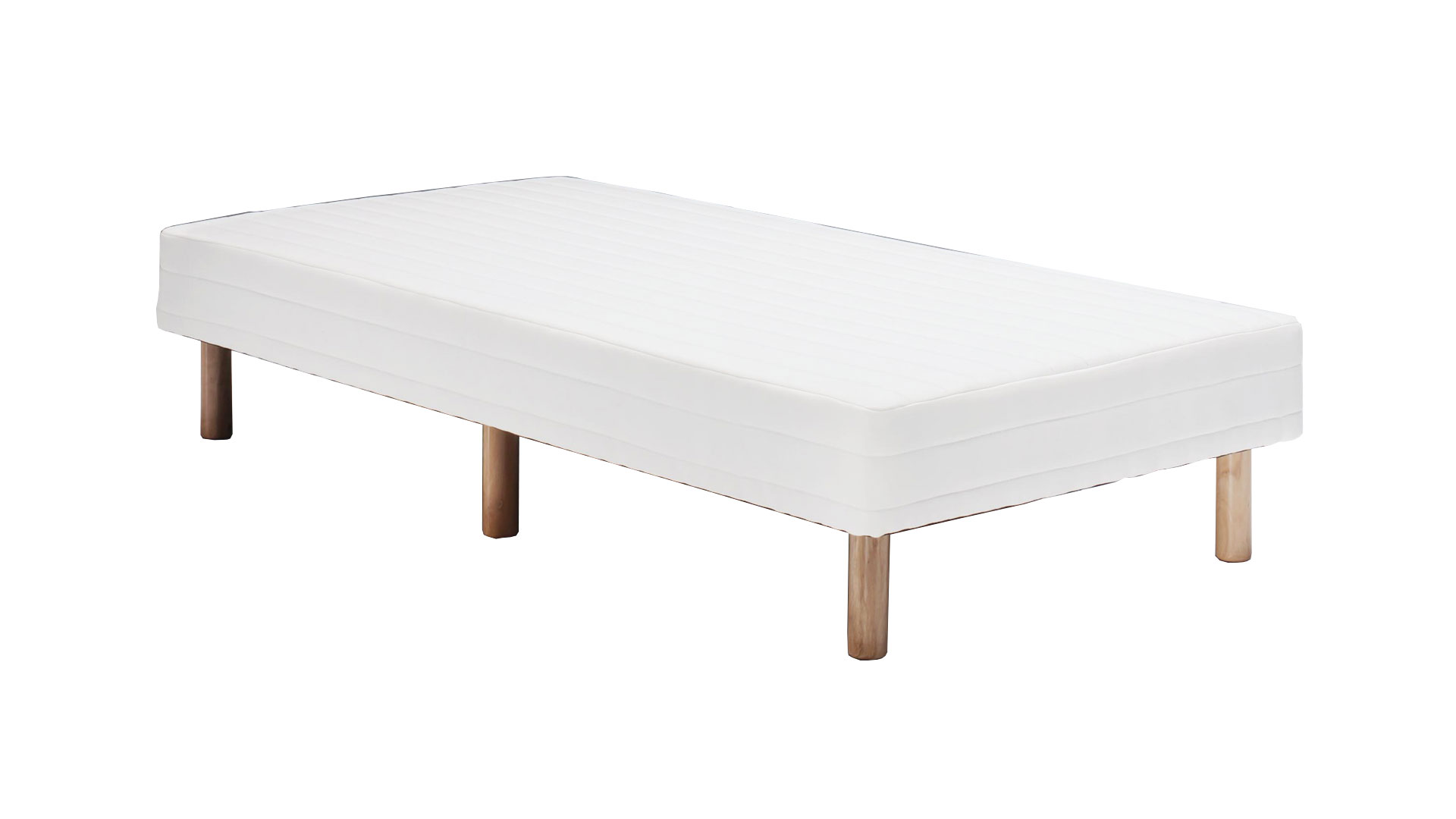 白のシングルサイズの脚付きマットレスベッド、ボトムベッドの画像