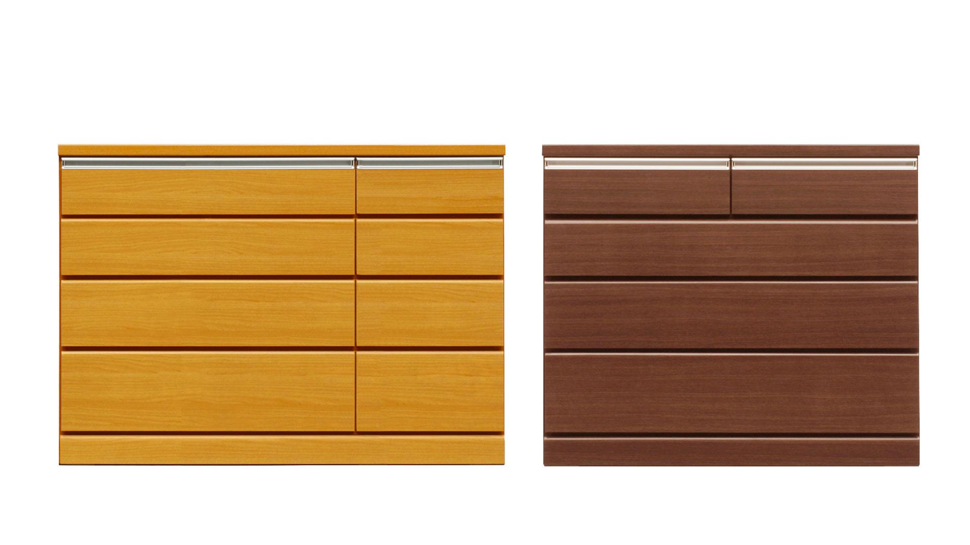 リビンズのチェスト「アリッサⅢ」の100cm幅ミドルブラウンのローチェストと120幅ライトブラウンの画像