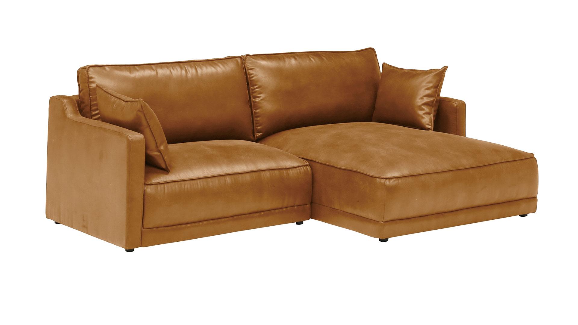 リビンズのレザーテックスを使用した横幅230㎝のL字型のソファのキャメル色の画像