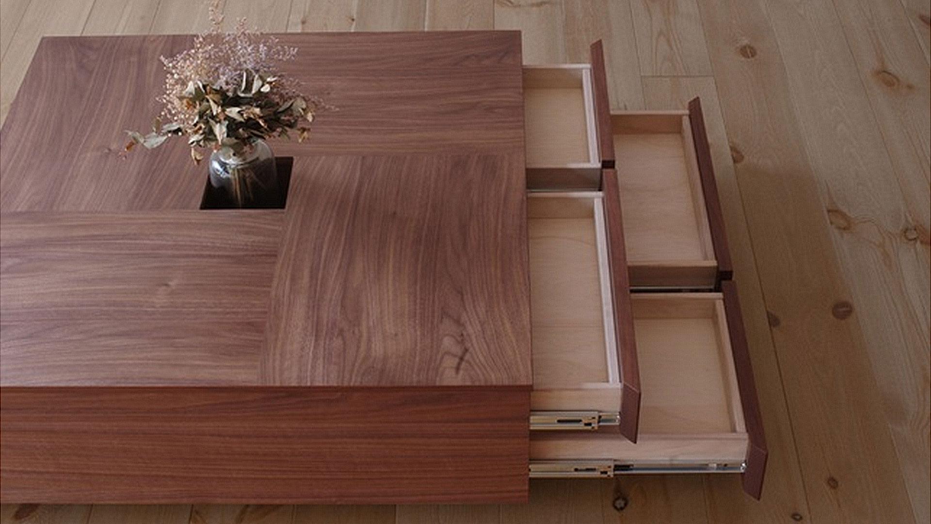 関家具のセンターテーブルのアトリの上から引き出しを出した状態の画像