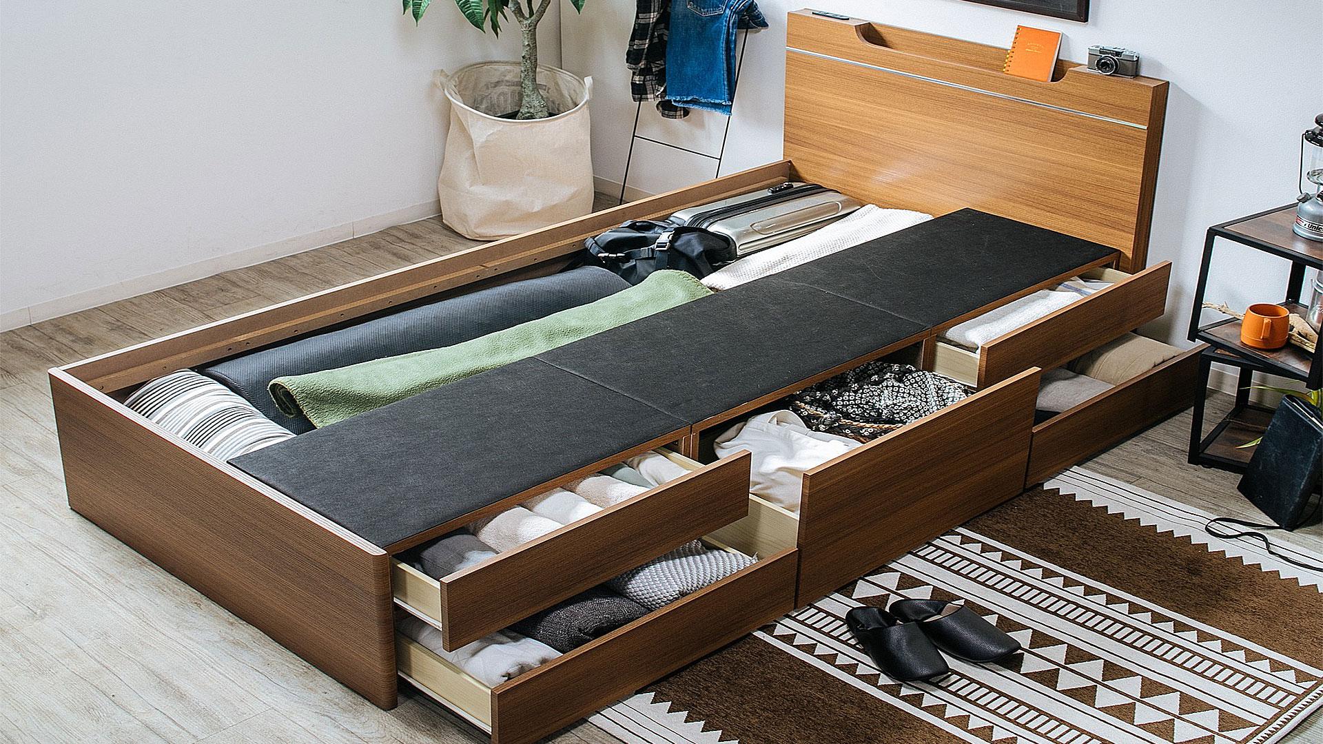 リビンズのベッドフレーム「グッデイ」のチェストベッドの画像