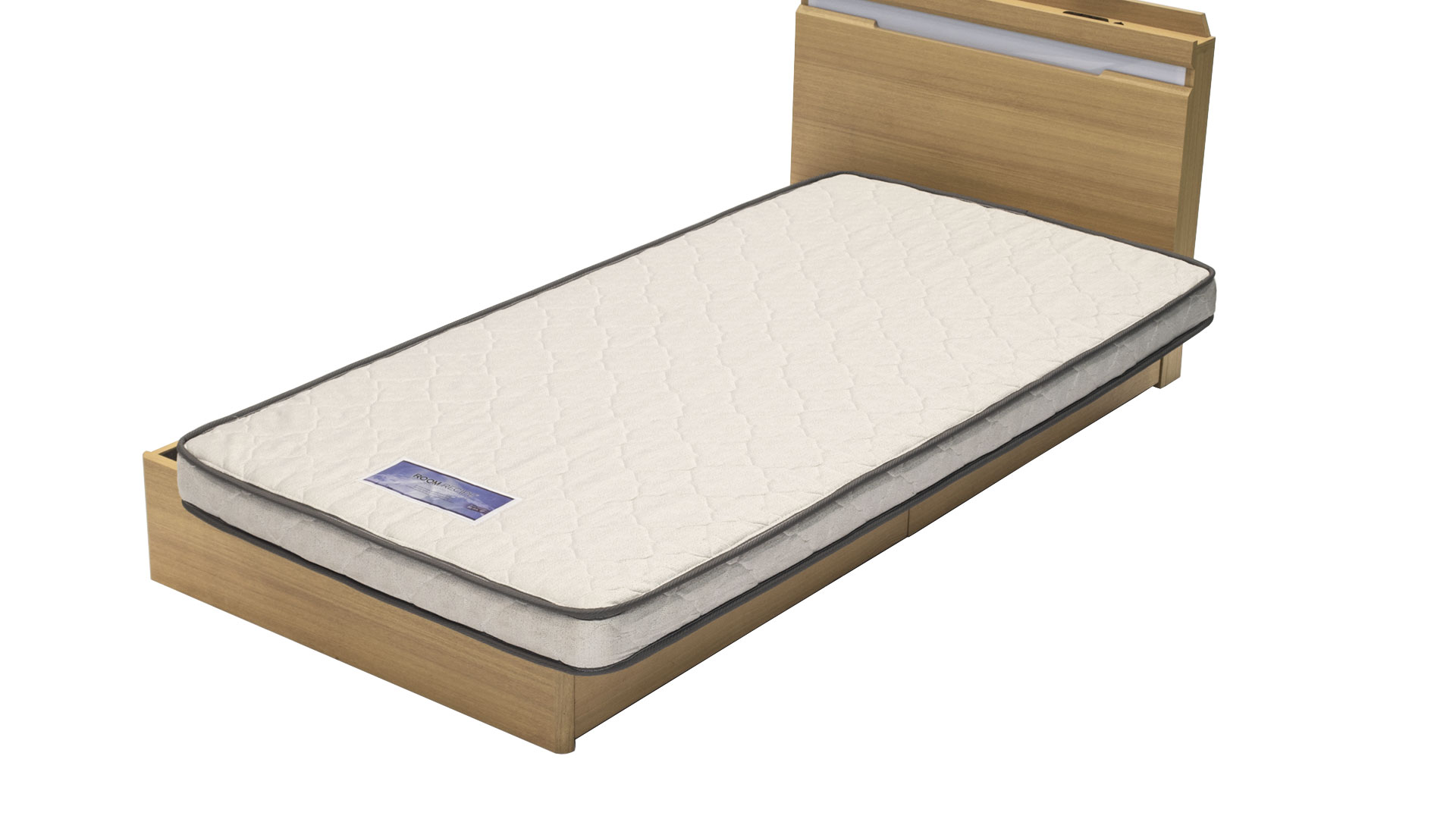 リビンズのS圧縮マットレス「リアムⅡ」のベッドにリアムを乗せたの画像