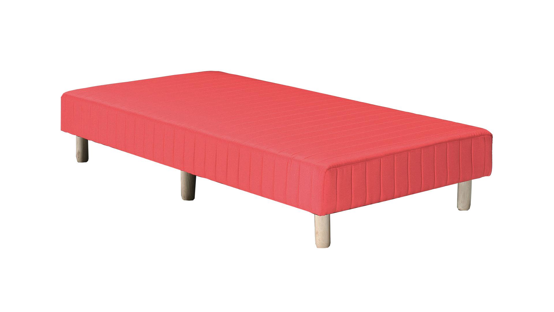 赤のシングルサイズの脚付きマットレスベッド、ボトムベッドの画像