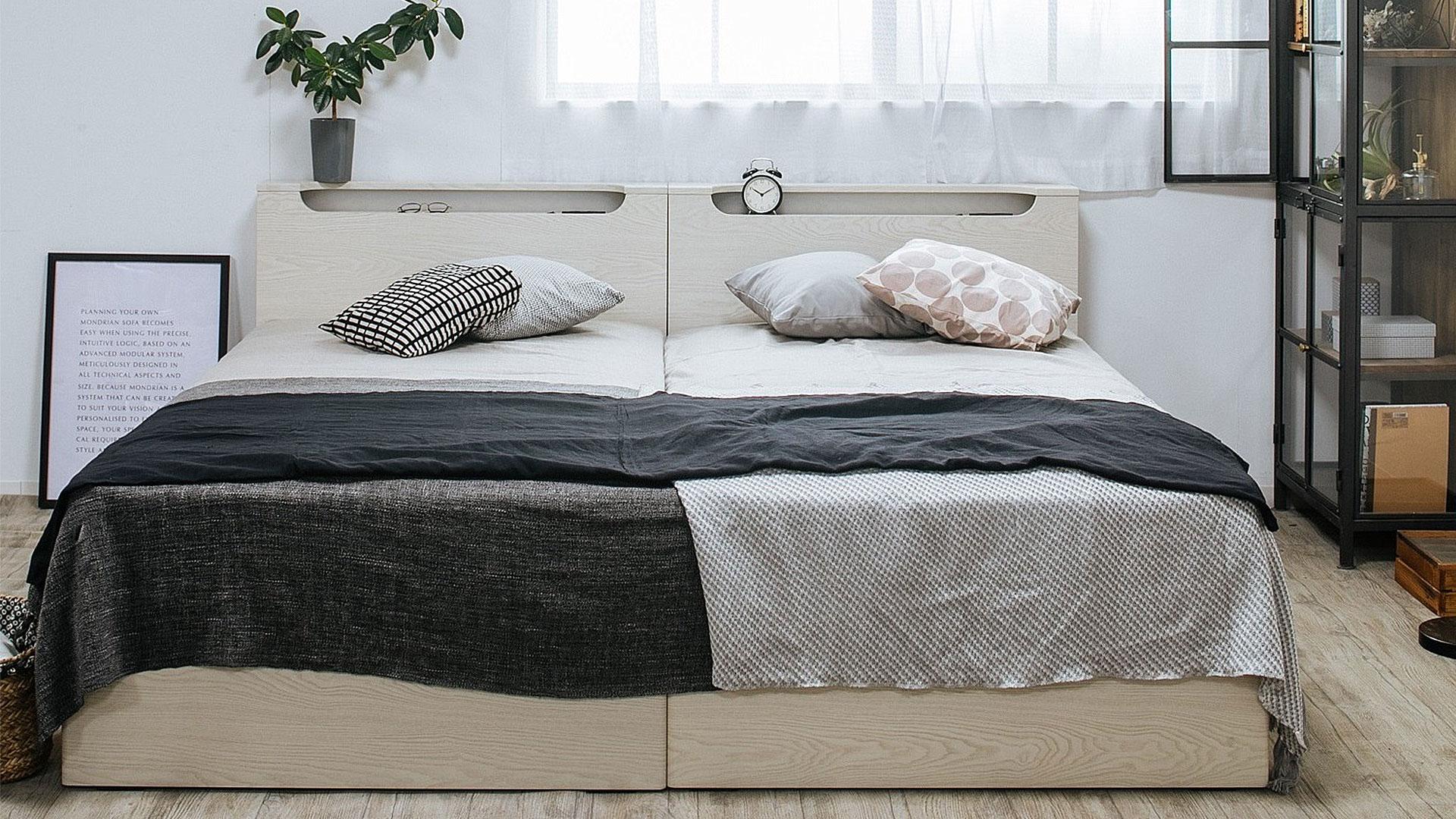 リビンズのベッドフレーム「グリス」のツインベッドにした時の画像