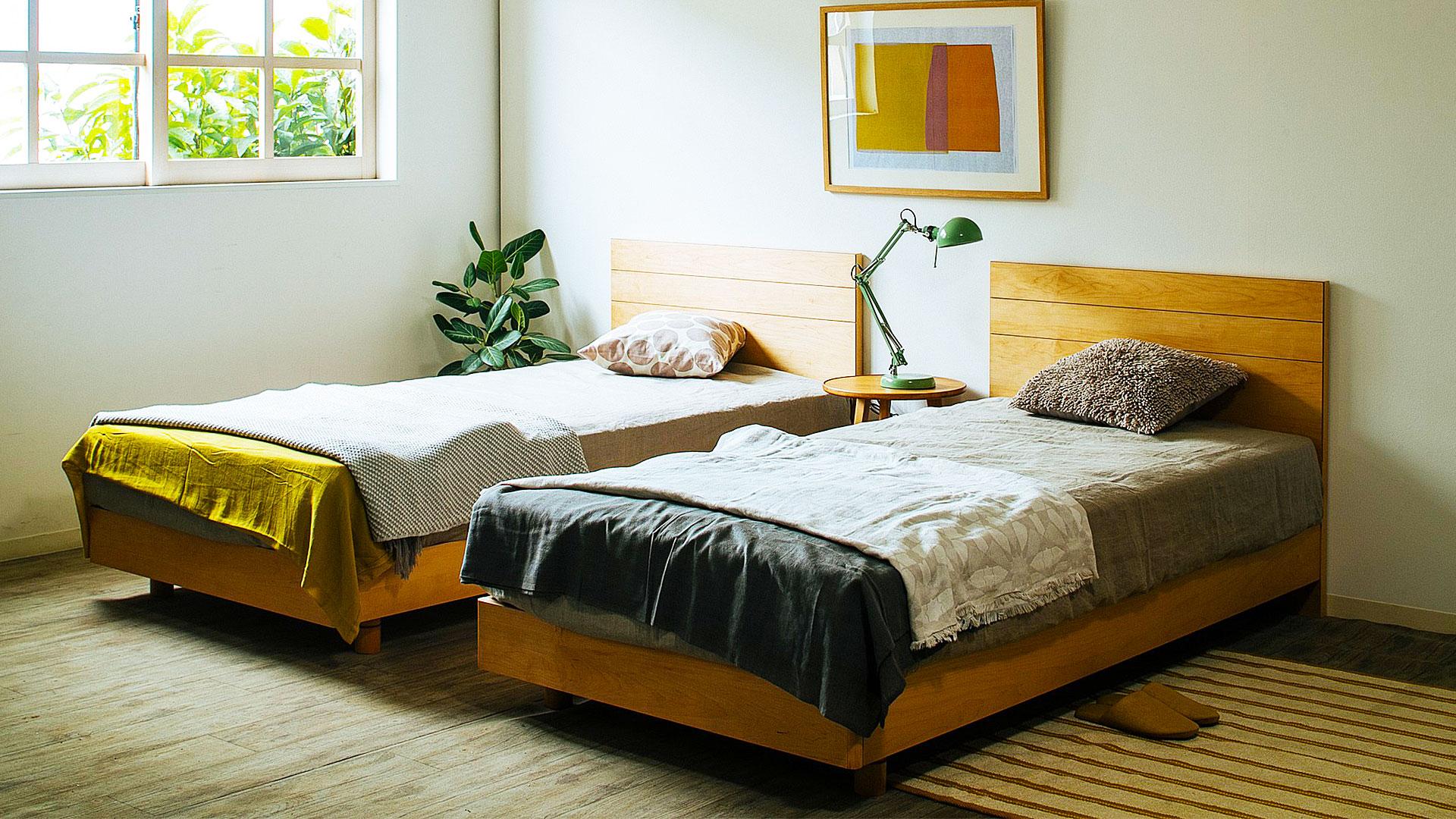 リビンズのベッドフレーム「セリーズ」のフラットのツインベッドの画像