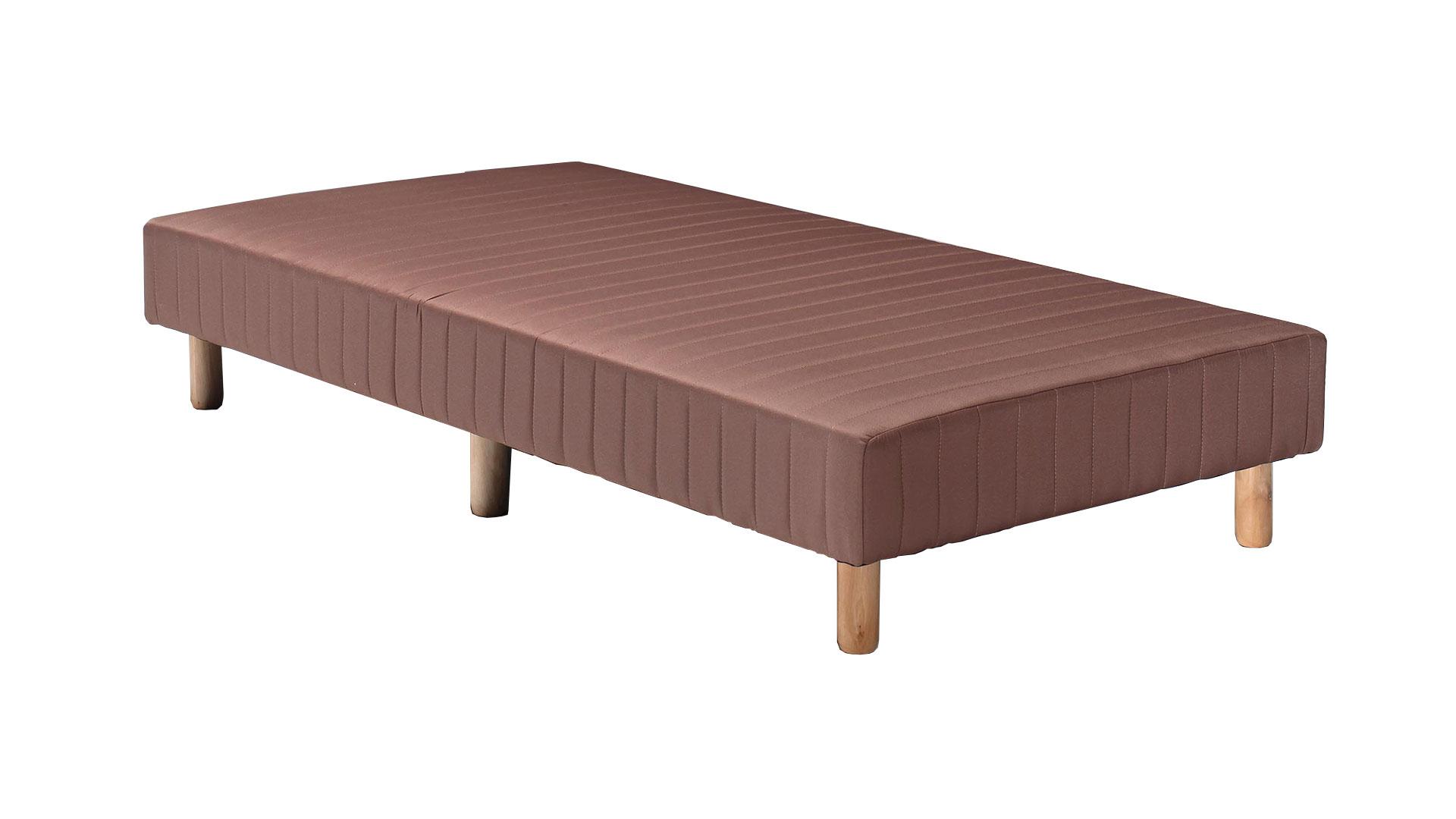 茶色のシングルサイズの脚付きマットレスベッド、ボトムベッドの画像
