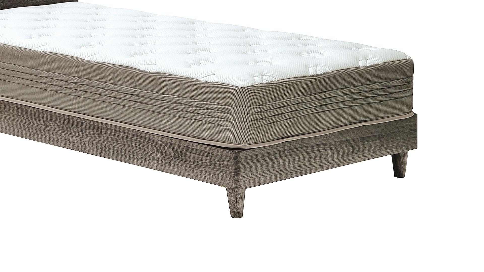 リビンズのベッドフレーム「アンディ」のグレーの脚のアップの画像