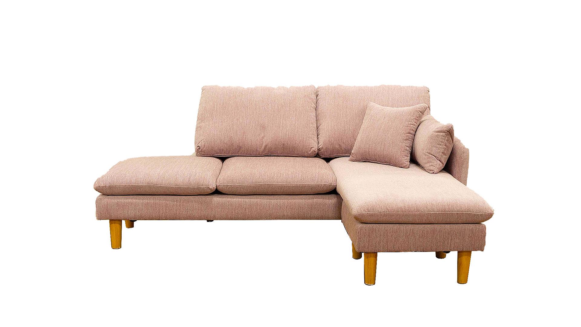 askinのソファ「スペンサー」のパステルピンク色を正面から撮った画像