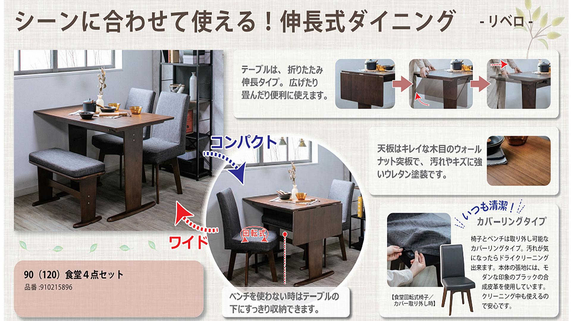 伸長式のエクステンションテーブルの詳しい説明の画像