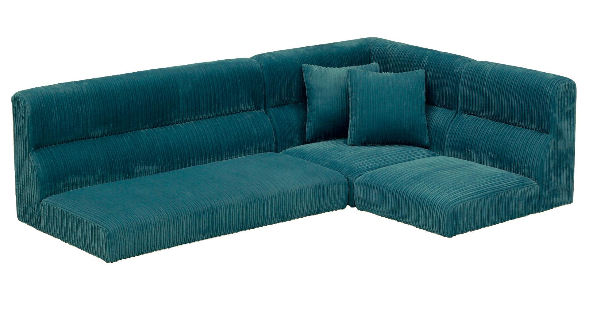 触り心地が気持ちいいコーデュロイ、足を取り外してロータイプにできるリビングダイニングソファ