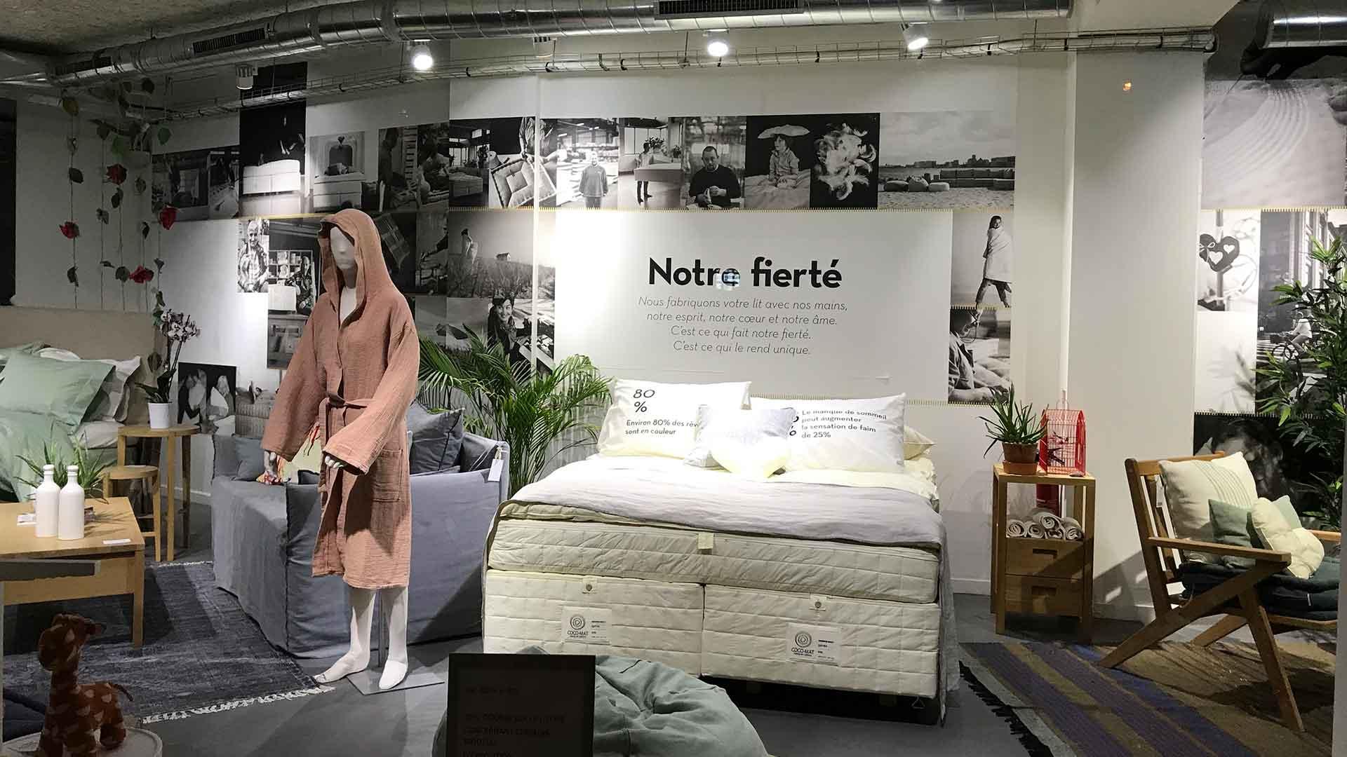 フランスのパリにあるココマットのお店のノンコイル売り場の画像